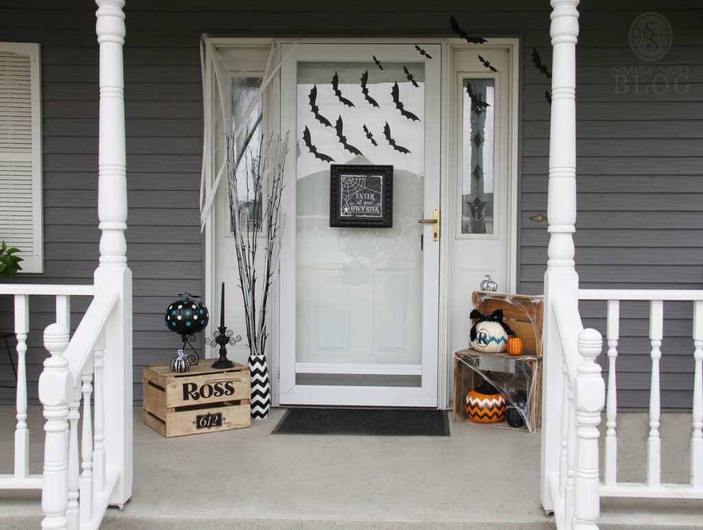 Halloween Door Decoration Bat Filled Front Door