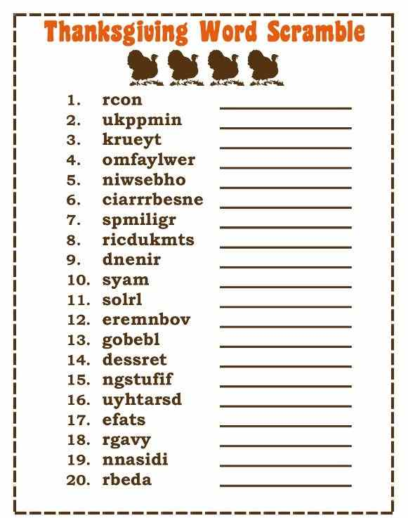 Printable Thanksgiving Word Games